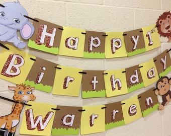 Happy Birthday Jungle Theme Banner, Jungle Birthday Party, Jungle Theme Birthday, Jungle Happy Birthday Banner