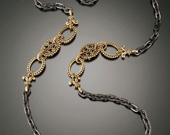 Gunmetal and Gold Chain Necklace