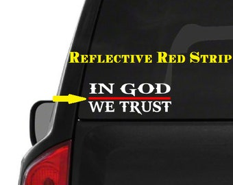 In God We Trust (M48) Thin Red Line Firefighter Vinyl Decal Sticker Car Window
