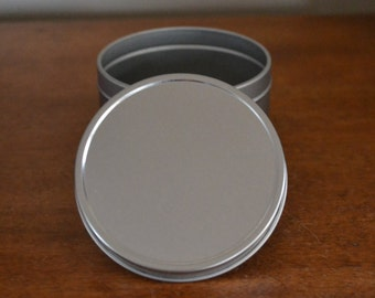 8 oz Deep Metal Tin. 10 Wholesale. Made in USA. Seamless Tin. Rust Resistant. Base and Lid. Rolled Edges.