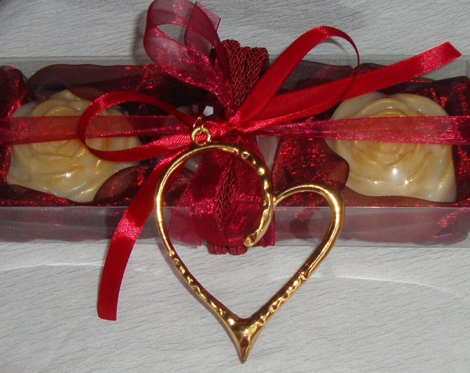 Valentine Gift Idea for her, Burgundy Gift Set for Women, Luxury Royalty Soap, Heart Necklace, Mothers Day Gift, Girlfriend Gift, Wife gift