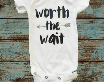 Worth the Wait Onesie® with Gray Arrow