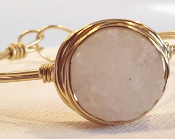 Drusy and Gold Cuff Bracelet