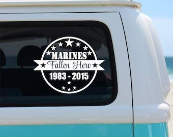 Marines Fallen Hero Memorial Vinyl Window Decal - Car Sticker - Car Decal