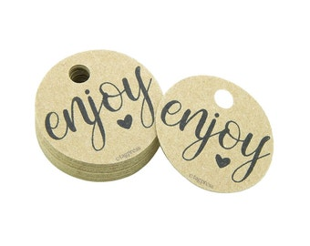 "Enjoy Gift Tags, 1.5"" Round Paper Tags, Enjoy Labels, Rustic Gift Tags, Enjoy Favor Tags, Cream, White, Ivory, Brown Kraft Tag Labels, T055"