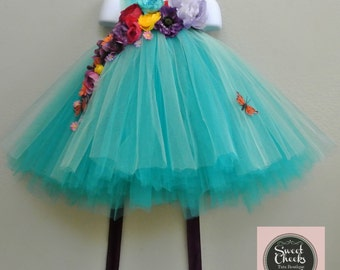 woodland fairy dress, flower girl dress, tutu dress, turquoise tutu dress, fairy gown, fairy dress, fairy costume
