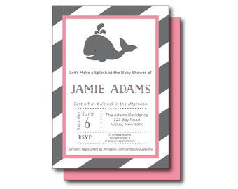 Whale Party Invitation, Whale Baby Shower, Preppy Personalized Printable Whale Baby Shower, Whale Party, Aqua, Teal, Pink Whale Invitation