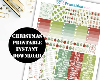 Christmas Printable Planner Stickers // Erin Condren Printable / Plum Paper Planner / Holiday Printable Digital Download 00117
