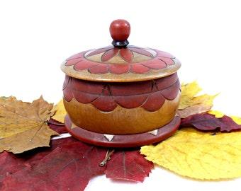 Vintage wooden box - Ornate carved box - Handmade jewelry box - Polish folk - Floral ornate wooden trinket - Vintage jewelry casket -