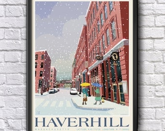 Haverhill, MA, WINTER Cultural Arts District, Nautical coordinates, Genuine Giclee Poster on Archival Matt Paper by Leslie Alfred McGrath
