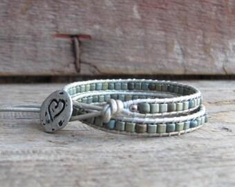 Beaded Wrap Bracelet, Leather Wrap Bracelet, Wrap Bracelet, Handmade Bracelet, Women's Bracelet, Boho Wrap Bracelet, Double Wrap Bracelet