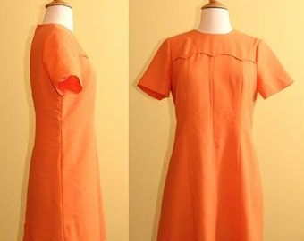Peach/Pale Orange A-Line 1960s Mod Dress, Medium (6)