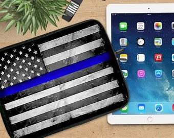 Thin Blue Line Ipad Sleeve, Blue Line Neoprene Tablet Sleeve, Ipad Sleeve, Ipad 2/3/4, Ipad Air Sleeve, Tablet Travel Case