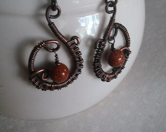 copper earrings , wire wrapped earrings , handmade earrings, handmade jewelry