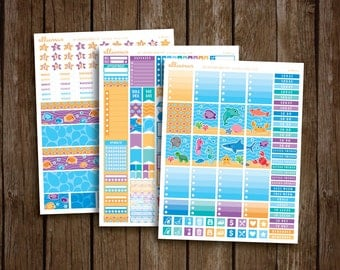 DELUXE Sea Creatures Weekly Kit | PRINTABLE pdf jpg | Ocean Sticker | Beach Vacation Kit | Summer Ocean Planner Sticker | fits Erin Condren