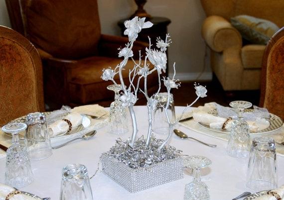 18 Inches Silver Manzanita Tree Wedding Centerpiece By MazuriYako