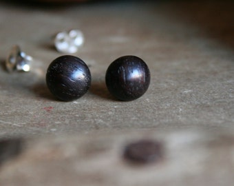 1 pair wood studs rosewood 7 mm with plug/nut 925 Silver
