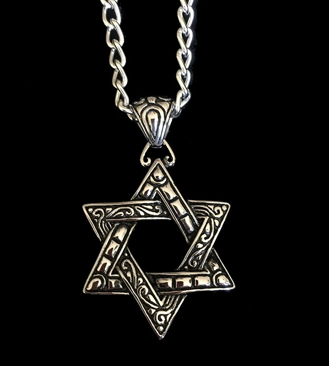 Men 39 s stainless steel star of david pendant men 39 s for Star of david necklace mens jewelry