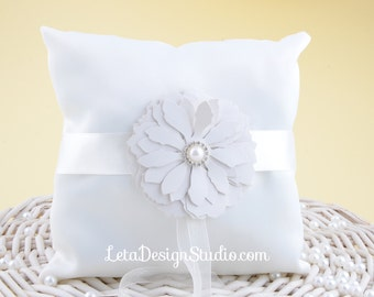 Wedding ring bearer pillow with leatherette flower Ivory ring bearer Flower ring pillow Wedding ring cushion