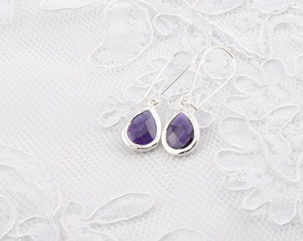 Purple earrings Bridesmaid gift Wedding Earrings Purple bridesmaid Purple Bridesmaid Earrings Long purple earrings Amethyst purple earrings