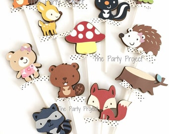 12 Woodland Cupcake Toppers | Woodland creatures birthday party or baby shower decor | Camping party | Forest animals cupcake picks!