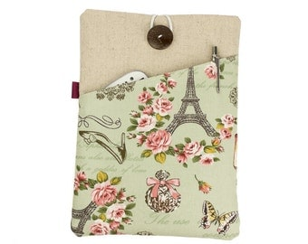 "Kindle Paperwhite case, 6"" eReader cover, Kindle sleeve, Kobo Aura case, Kindle Voyage, Kobo sleeve, Kindle Touch, French style, Floral"