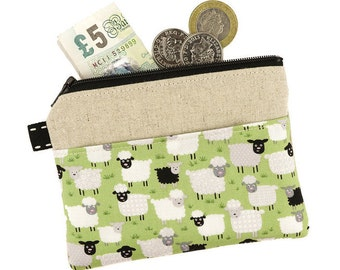 Sheep coin purse, Zipper pouch, Card holder, Coin pouch, Zipped card pouch,  Fabric purse, Sister Gift, Gift for Her, Sheep Gift, Sheep
