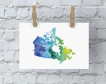 Canada Watercolour Map - Giclée Print of Hand Painted Original Art - 5 Colours to Choose From