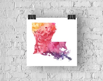 Louisiana Watercolor Map - Giclée Print of Hand Painted Original Art - 5 Colors to Choose From