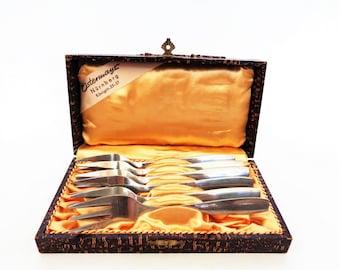 Vintage Dessert Forks, 6 Pieces, Cake Forks in Original Box, Dessert Forks, Stainless Steel Forks, Rostfrei, 18/10, Germany