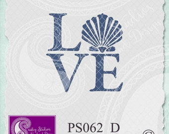 PS062_D - LOVE Beach Vector with seashell; ai, eps, svg, gsd, dxf; (png and jpeg files also available )