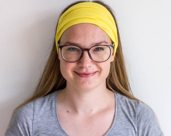 Yellow Headband for Women - Extra Wide Headband - Wide Yoga Headband - Workout Headband - Stretchy Headband - Wide Tube Headband - Gift