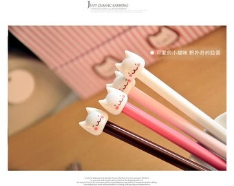 Kawaii Cat Pen - .5mm + Black Ink - Kitty Planner Goodies, Kawaii Pen, Planner Accessories, Planner Pen, Stationery, Ships from USA - IMP15