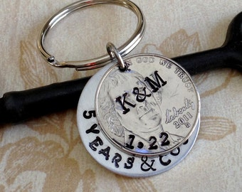 Personalized 5 Year Anniversary Keychain/ 5 Years and Counting Stamped / 2012 / Wedding /5 Year Anniversary/ Gift for Her Gift For Him