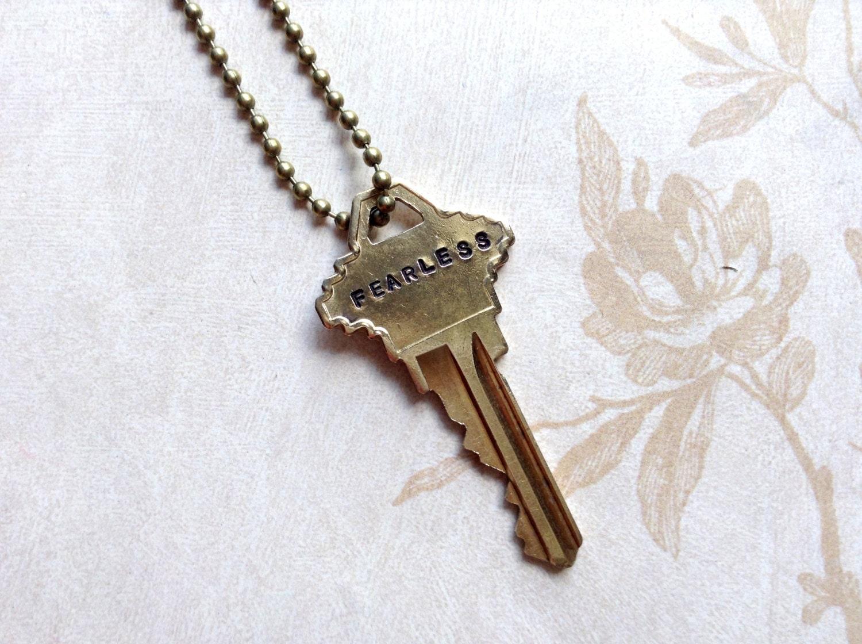 Vintage Fearless Key Necklace Jewelry Stamped Vintage Key