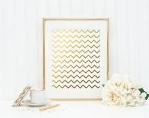 Chevron Gold Foil Print - gold foil print - pattern gold foil print - gold wall decor - gold nursery decor - gold office wall decoration