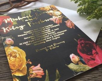 Vintage Flower Real Foil Invitation Suite Deposit