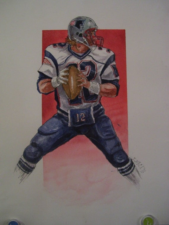 Tom Brady,New England QB,16x20 Watercolor/Pen&Ink,One of a Kind,Not a Print,Free Shipping Code SKYE2
