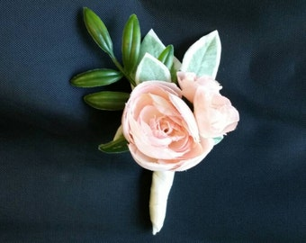 6 Peach-pink  Wedding Boutonnieres