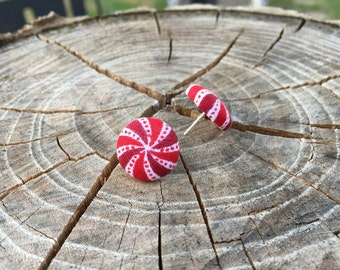 Christmas Peppermint fabric button earrings