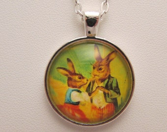 Bunny Couple Glass Pendant, Dancing Rabbits Glass Necklace, Edwardian Rabbit Couple, Rabbit Jewelry, Easter Jewelry, Glass Photo Pendant