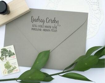 Address Stamp - custom address stamp - return address stamp - calligraphy address stamp - custom stamp - rubber stamp - Z1132