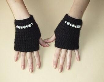 Winter Fingerless Gloves- Crochet arm warmers- black arm warmers-Winter Fingerless Gloves  Women gloves