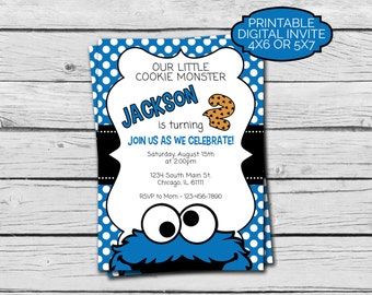 Cookie Monster Birthday Invitation - Digital File