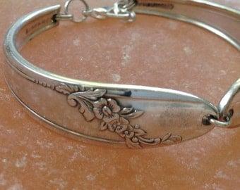 "Spoon Bracelet ""Queen Bess II"" 1946 Silverware Bracelet Handmade Vintage Jewelry Spoon Ring Christmas Gift Fork Antique Bracelet-76"