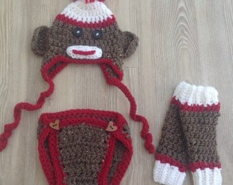 Sock Monkey Set, Sock Monkey Hat, Diaper Cover & Leg Warmers, Photo prop set for your Newborn,  Hat, diaper cover, leg warmers,