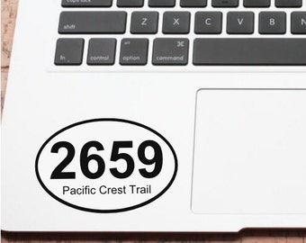 Pacific Crest Trail Oval Mileage Decal- PCT Mile Decal- Hiking Decal