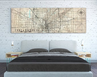 INDIANAPOLIS Canvas Print IN Indiana Vintage map Indianapolis Vintage map City Horizontal Wall Art Vintage map Long Large Panoramic poster
