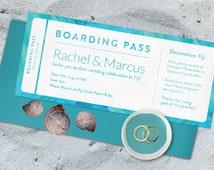 Boarding pass wedding invitation, Destination wedding invitation, Wedding details card, Fiji wedding, Beach wedding invitation, Wedding set