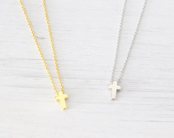 Tiny Cross Necklace - Gold, Silver, Kids Woman necklace, Children necklace, Cross Charm, Cross Pendant - Christmas Baptism Gifts